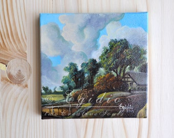 Miniature oil painting with Dutch landscape Small 4x4 oil painting Mini painting with countryside house Blu brown green SFA