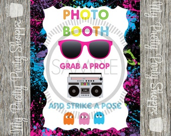 8x10 80's Party / I Love The 80's / Totally 80's Photo Booth Sign *INSTANT DOWNLOAD*