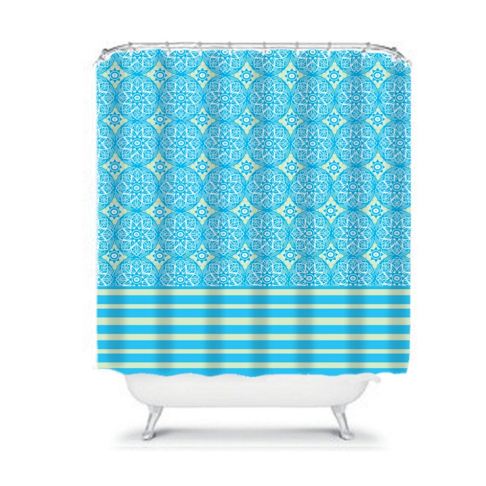 Shower Curtain Blue Turquoise Beige Floral By FolkandFunky On Etsy