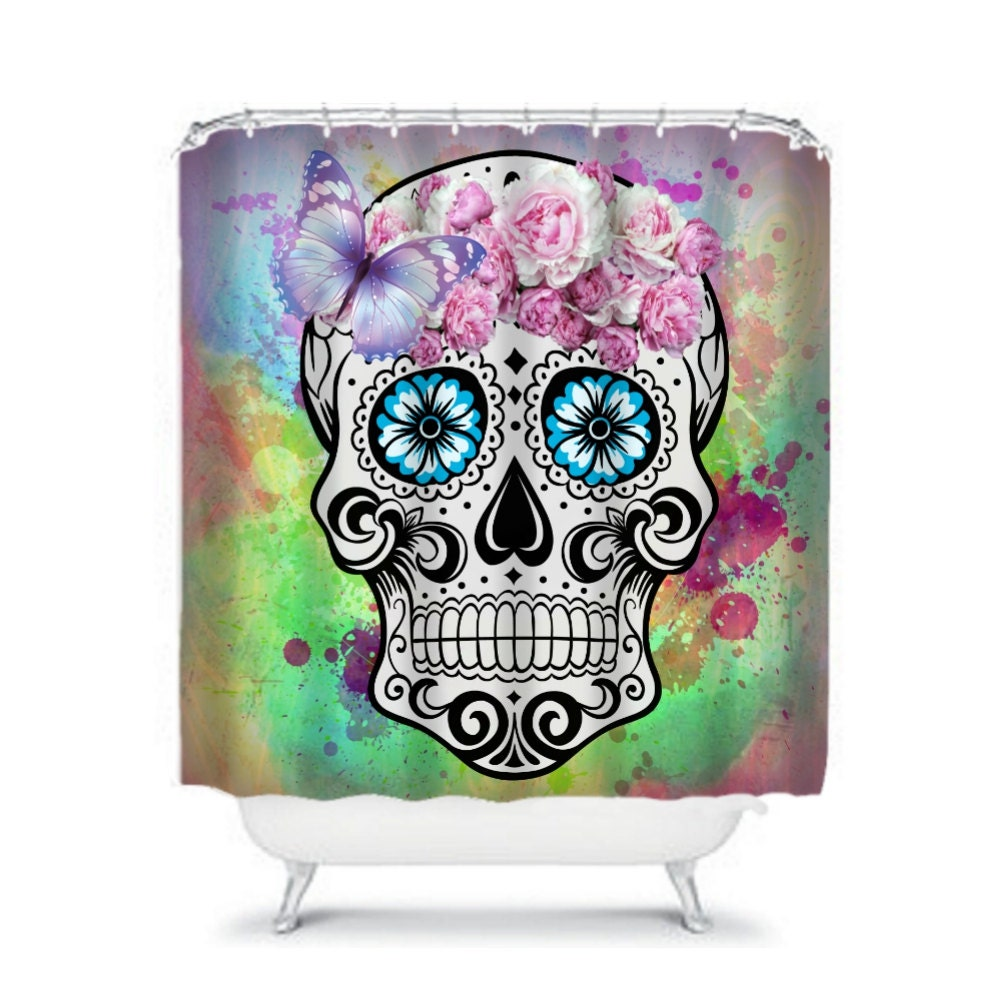 sugar skull shower curtain sweet molly. Black Bedroom Furniture Sets. Home Design Ideas