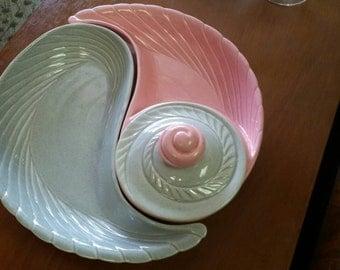 California pottery chip dip set