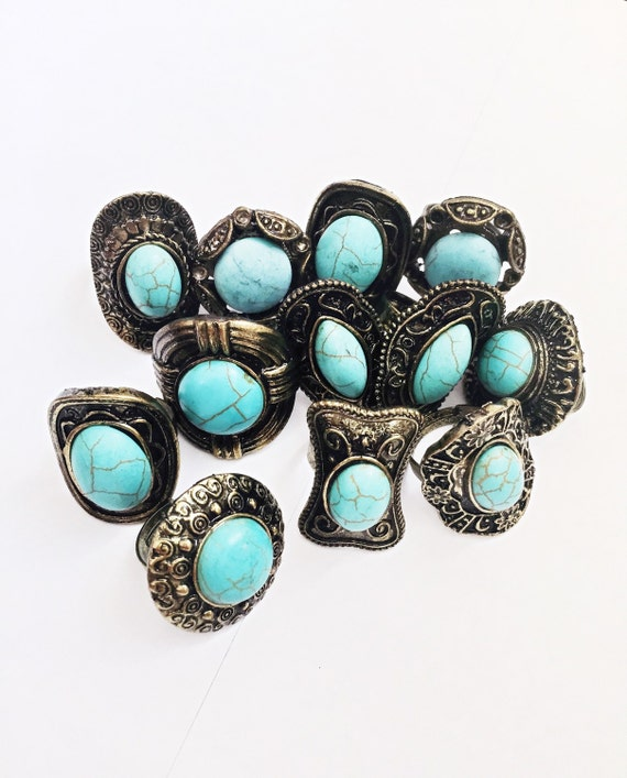 Turquoise Ring Boho Adjustable Bohemian Jewelry by ...