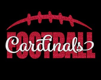 Custom Football T-shirt - customize for your team name (Cardinals shown), team colors and player number!