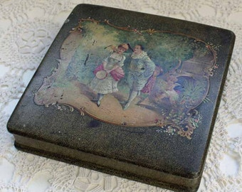 Antique French wooden box motif of angel and musician, vintage wood box Rococo style, mid 19th century box