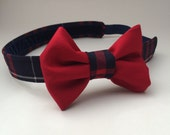 School Uniform Plaid Headband with Bow (Upcycled)- MADE TO ORDER