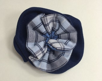 """School Uniform Plaid 2 Layer Flower Hair Clip (Upcycled)- The """"Gracie"""" AS SHOWN"""