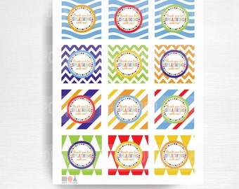 Beach Ball Birthday Party Printable Favor Tags YOU Print Instant Download