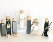 Rustic Wooden Nativity Set with Burlap and Jute accents || 12 Piece Gray Shabby Chic Nativity