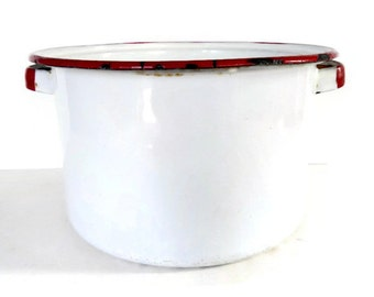 Vintage Enamelware Stock Pot - white, red trim - 1950s - pan, retro kitchen, rustic, country kitchen, primitive, camping, farmhouse, cottage
