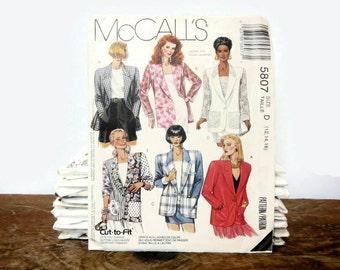 Vintage McCalls Sewing Pattern 5807 - Misses' Unlined Jackets - Size 12, 14, 16 - 1992 - women's, blazer, coat, dressy, suit, plus size