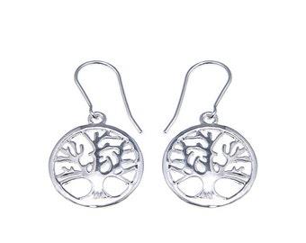 925 Sterling Silver The Enternal Tree of Life Hoop Earrings