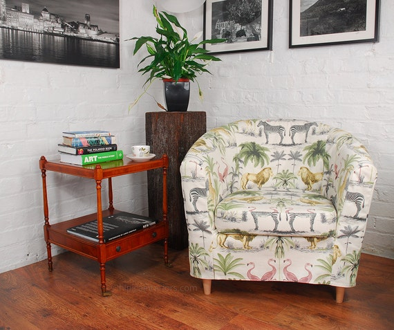 ikea tullsta tub chair cover in safari print cotton. Black Bedroom Furniture Sets. Home Design Ideas