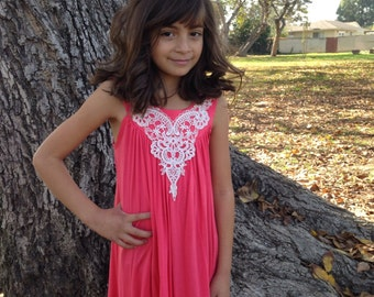 Girl's A-Line Coral Dress w/Ivory Appliqué Sizes 4/5, 6/6X, 7/8, 10 Ready to Ship