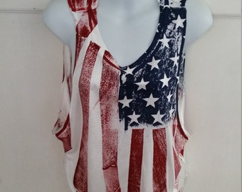Hand-Painted Sleeveless American Flag Blouse