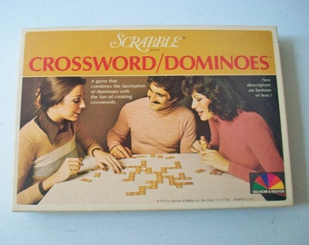 Scrabble Crossword Dominoes Game, Vintage Word Play Game with Domino Like Word Creation, 1975