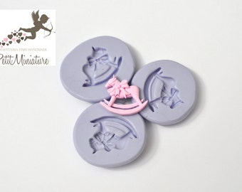 Flexible silicone mold Baby rocking horse 20mm polymer clay jewelry kawaii ST217