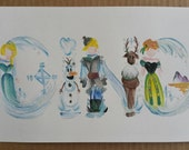 Custom Disney inspired Frozen Name Painting/ Disney Art  [One of a Kind]