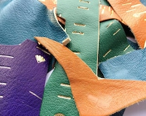 Sale - Bag of leather offcuts, leather scraps, scrap leather, tanned goatskin, leather remnants, bookbinding, leather crafts, scrapbooking
