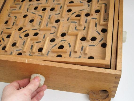 Wooden Labyrinth Game Marble Tilt Orbit Maze Game Round