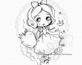 Snow White Chibi DIGITAL STAMP Instant Download