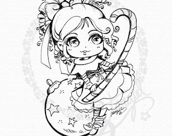 Christmas Elf Ornament  - DIGITAL STAMP Instant Download
