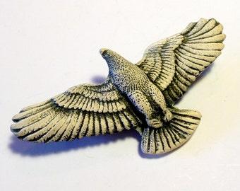 Bold Eagle Brooch,Vintage, Ceramic Brooch, Black and White
