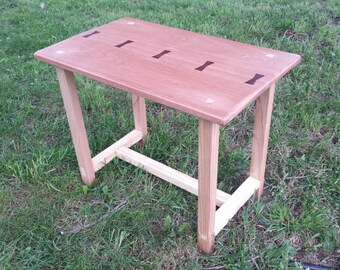 Handmade Red Grandis End Table With Rosewood Butterflys Inlays. Pine base. Hand Cut Thru Tenons. Side Table. Reclaimed Wood. Sustainable.