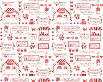 Farmers Market Fabric - Vintage Text in Red by Penny Rose / Riley Blake - 1/2 Yard