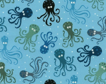 Octopus Fabric - Octopus in Surf by Timeless Treasures - 1/2 Yard