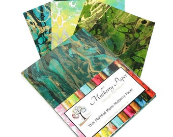 """Marbled Mulberry Momi  Paper in Green Colors for Arts, Crafts and Scrapbooking (12 Sheets of 8.5"""" x 11"""" Paper)"""