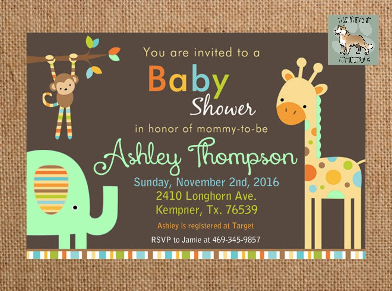 zoo themed baby shower invitation with by rusticmadereflection