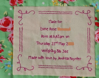 Name Label for Baby Clothes Memory Quilt