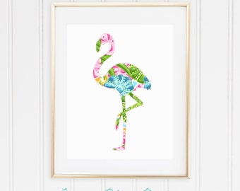Tropical Palm Beach Flamingo Print - Pulitzer-Inspired Pink, Blue, Green - Glam, Chic - Printable, Instant Download, 8x10, 11x14, 12x16
