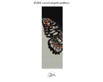peyote pattern beadwork butterfly bracelet tutorial
