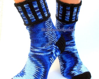 Hand Knitted Blue Black Socks Blue Women's socks Blue Girl's Socks Blue Black Men's Socks Colorful Blue Socks Warm Socks Winter Socks Gift