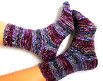 Purple Blue Brown Hand knitted socks Warm Socks winter socks Girl's Socks Men's socks Eelegant colorful stylish womens's socks Gift idea