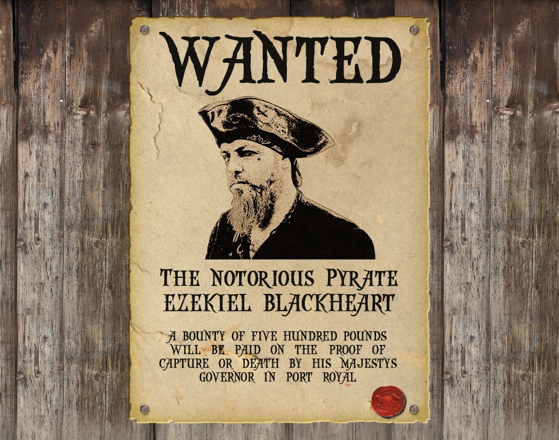 Personalised pirate wanted poster custom steampunk wanted for Wanted pirate poster template