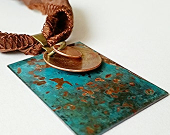 Patina Necklace, Copper pendant, verdigras jewelry, verdigris patina, mixed metal necklace, gypsy necklace, blue pendant, rustic jewelry