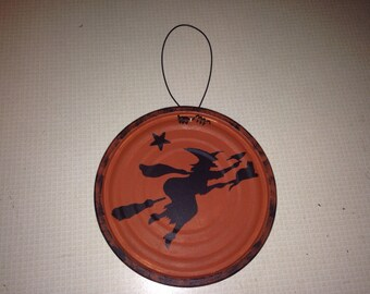 Halloween Witch and Ghost Painted Tin Lid •SALE•