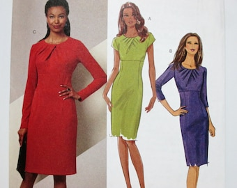 Butterick 5382 ~ High Waist Stretch Knit dress with Pleated Neckline SIZE 8-10-12-14 UNCUT Sewing Pattern