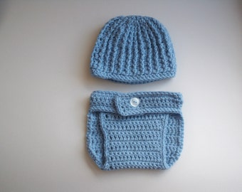 Hand crocheted baby boy diaper cover and hat set 6 -9 months