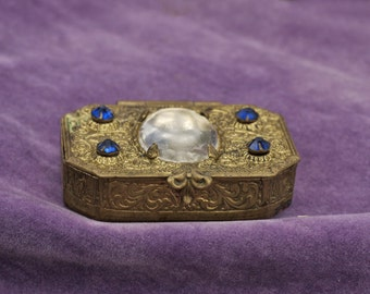 Vintage East German Brass Ornate Pill Box