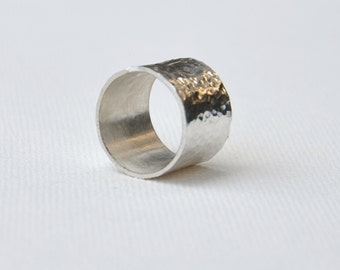 Stunning Silver Ring Hammered Ring Silver Texture Ring. Statement Silver Ring. Wide Silver Ring