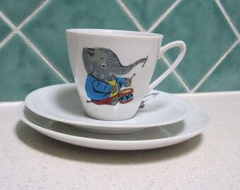 2 Vintage/Retro Cup, Saucer and Plate - Elephants
