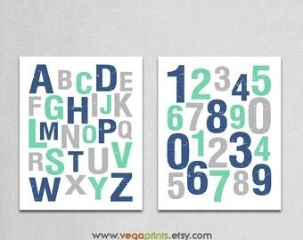 Navy mint and gray Alphabet and numbers art print -UNFRAMED- mint green, grey, nursery wall art,  123, abc, baby boy room wall art