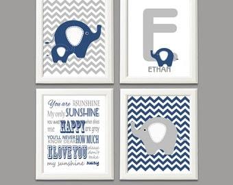 Navy and grey elephant nursery art print - UNFRAMED- baby boy wall art, elephant family, you are my sunshine, Ethan, letter E, typography