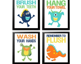 Boys Monsters Bathroom Art Print Unframed Baby Boy Bathroom Art Kids Bathroom Wall