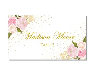 Printable Wedding Place Cards, Romantic Floral, Gold Sparkles, Rustic Wedding, Vintage Wedding, INSTANT DOWNLOAD, Microsoft Word #CL111
