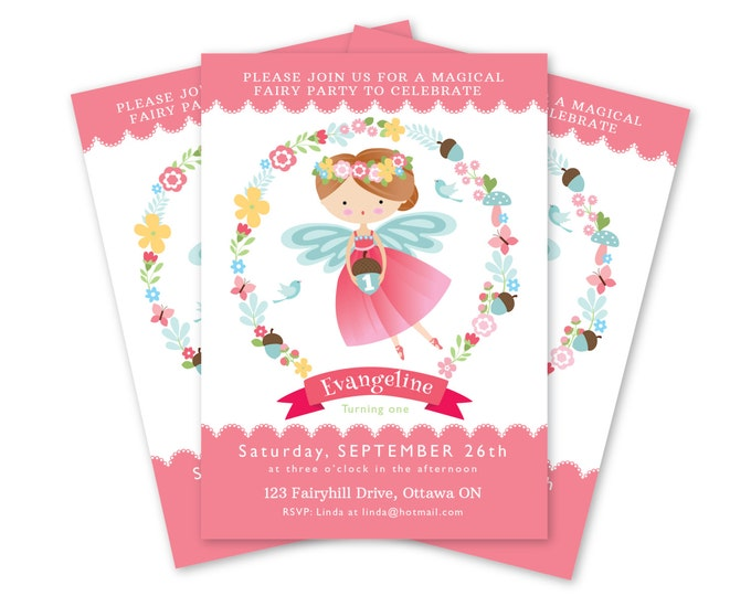 Fairy Invitation, Girl's Fairy Party Invite, Printable, Customized Text, Fairy Floral Invite