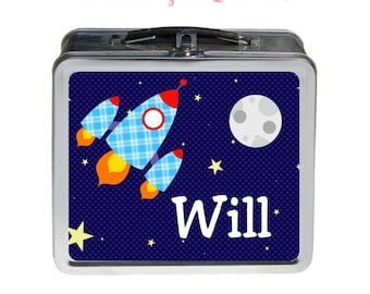 Rocketship Lunchbox - Personalized Tin Metal Lunchbox - Double-Sided Rocketship Design